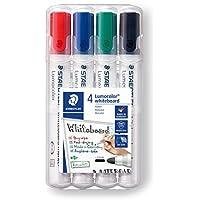 STAEDTLER pennarelli per lavagna bianca o superfici come vetro e porcellana Lumocolor whiteboard marker, confezione da 4 colori, 351 WP4
