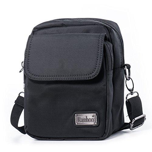 Hengwin Licht Stoff Kleine Umhängetasche für Männer Herren Handtasche Citytasche Handy Gürteltasche mit Gürtelschlaufe für Wandern Outdoor Sports Reise Flugtasche (Schwarz) Mini-tasche Für Männer