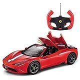 Kikioo Quatre roues motrices Simulation Grand 1/14 spécial A rouge électrique jouet dasher stunt sport vitesse télécommande sans fil son et lumière voiture décapotable auto ouvrir/fermer passe-temps