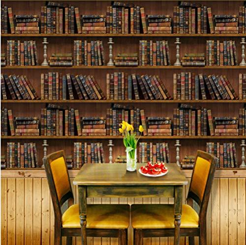 Syssyj Retro Bücherregal Wandaufkleber Steuern Dekor Wohnzimmer Schlafzimmer Restaurant Wanddekoration Selbstklebende Wandbild Tapete-350X250CM (Abstract Bücherregal)