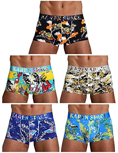 Arjen Kroos Herren Boxershorts Unterwäsche für Männer Men Sexy Boxer Shorts Briefs mit Muster Trunk Retroshorts Retropants Unterhosen Hipster, Mehrfarbig-3(5er Pack), M(74-82cm) -