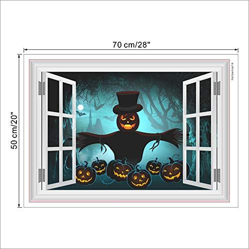 1 PACK,Kürbis Laterne Vogelscheuche Dunklen Wald Wandaufkleber Halloween Dekoration 3D Gefälschte Fenster Abziehbilder DIY Festival Wandbild Kunst