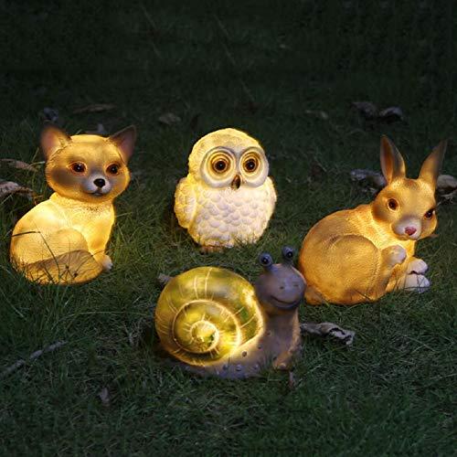 Solaire LED Pelouse Lumière Résine Solaire Animal Figurine Statue LED Paysage Patio Lumière Escargot Lapin Hibou Chien,Owl