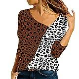 JERFER Damen V-Ausschnitt Farbe Passendes Patchwork für Leopardenmuster Hemd Pullover Top