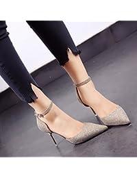 Xue Qiqi high heel Schuhe Bow Tie Baotou Sandalen 35 Schwarz [7 cm]