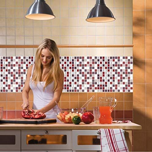Pegatina De Azulejo 5 Pieza Mosaico Adhesivo Alicatados De La Pared De La Etiqueta Engomada Vinilo Baño Cocina Casa Decoración Diy 20 * 100cm