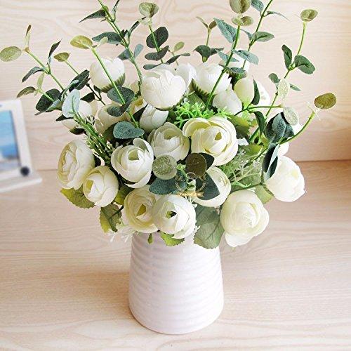 XCZHJ Flores Decorativas Artificiales Jarrón Cerámica Artificial Camelia Estilo Rural Blanco Los Productos de Flores…