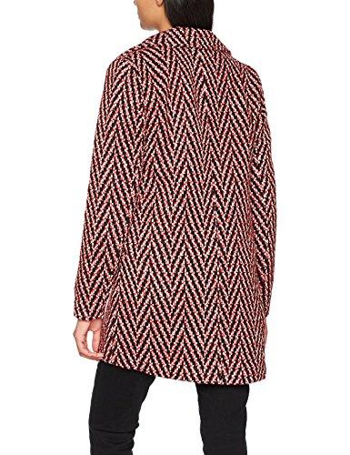 VERO MODA Damen Mantel Rot (Flame Scarlet Pattern:BLACK&WHITE)