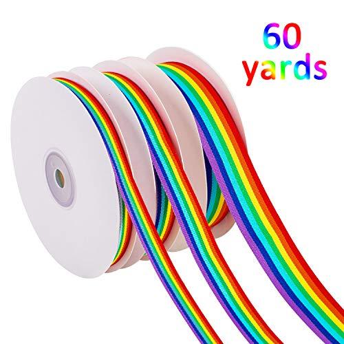 Whaline 60 Yards Ripsband, doppelseitig, Regenbogenstreifen, für Geschenke, Party-Dekoration, Gay Pride Day DIY Handwerk (1 cm, 1,5 cm, 2,5 cm in Breite)