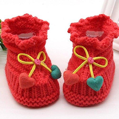 Vovotrade Kleinkind neugeborene Baby-Knitting Lace Crochet Schuhe Buckle Handcrafted Schuhe (Blau) Wawssermelonenrot