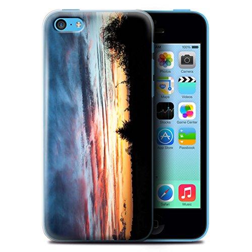 Custodia/Cover Rigide/Prottetiva STUFF4 stampata con il disegno Tramonto scenario per Apple iPhone 5C - Cima della montagna Rosso, arancio e blu