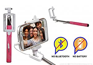 Selfie Stick Monopod With Wired Aux Cable Connectivity Compatible For Reliance Jio LYF Flame 2 -Pink