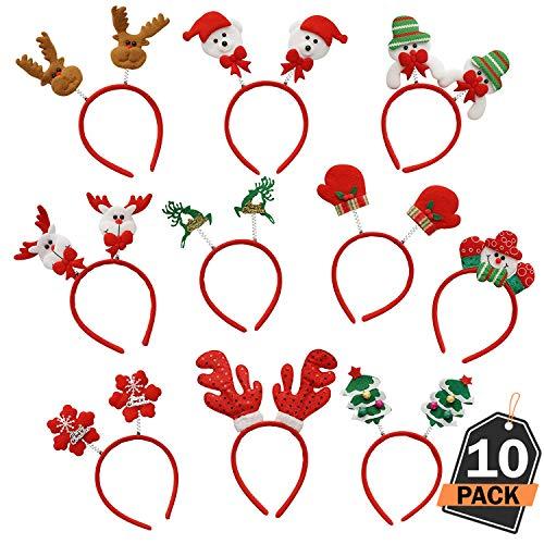 Kompanion Weihnachten Stirnbänder 10-teiliges Set, Stilvolle Weihnachten Stirnbänder, Einheitsgröße, für Weihnachtsfeiern, Weihnachtsfotostand und Feiertags-Gastgeschenke