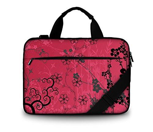 Luxburg Design gepolsterte Business- / Laptoptasche Notebooktasche bis 17,3 Zoll mit Schultergurt, Mehrzwecktasche, Motiv: Sakura pink