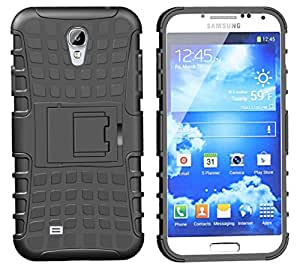 Wellmart Hybrid Defender Military Grade Armor Kick Stand Back Case Cover for Samsung I9500 Galaxy S4 (Black)