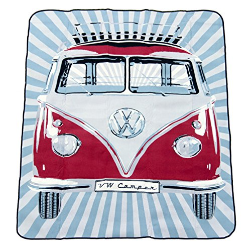 VW Collection by BRISA Picknickdecke in kultigem VW Bulli T1 Design Fb. Rot