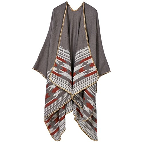 Xyzhf * * Extra Large épais chaud Fancy Scarf4313cashmere Fall Winter femelle sur chariot élévateur Cape Veste longue Grid-the forklift truck) National Wind-the Forklift Truck)