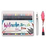 Feutre Aquarelle Pack de 20 Couleurs + 1 Aqua Brush, Watercolor Brush Marker Pens Soft Flexible Tip Créez des Effets Aquarelle parfait pour cahiers de coloriage adulte, mangas, comics, calligraphie