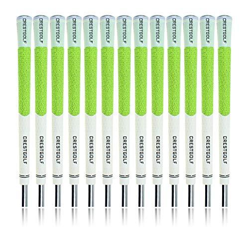 Crestgolf Golfschläger-Griffe, mehrkomponiert, Gummi, mit Karbongarn, Rutschfest, Standardgröße, 13 Stück, grün