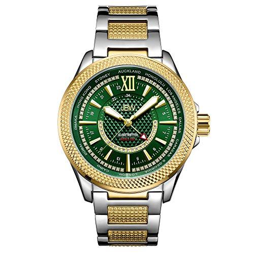 JBW J6365-10D - Reloj de pulsera para hombre de 10 años de aniversario GMT Globetrotter de 0,21 quilates con diamante