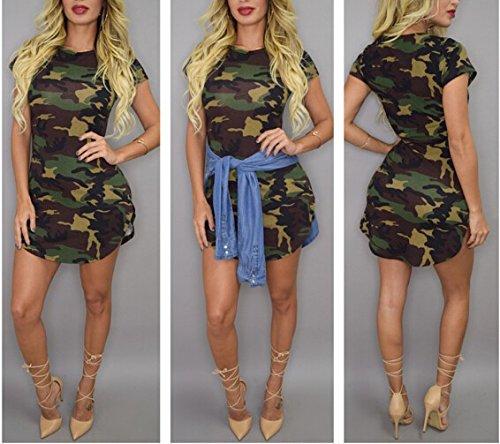 Leezeshaw Damen Kleid Camouflage