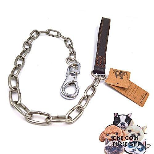 petfun Royal Style Echt Leder mit Edelstahl Qualität anti-chewing Hundeleine, schwarz und braun (Verfolgung Leder)