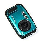 MAXLY 2.7 Zoll LCD-Kameras 16MP Digitalkamera Unterwasser 10m Wasserdichte Kamera + 8x Zoom-Blau