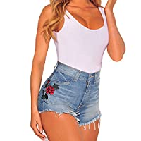 Women Vintage Rose Embroided Floral Hot Pants High Waist Loose Jeans Shorts