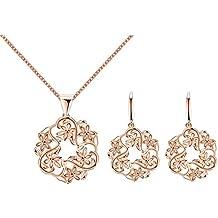 Moda Exquisita Pendiente Color De Rosa Collar De Flores De Oro Determinado De 6
