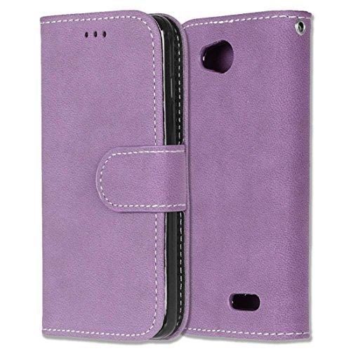 LG L90 Hülle, Chreey Matt Leder Tasche Retro Handyhülle Magnet Flip Case mit Kartenfach Geldbörse Schutzhülle Etui [Lila]