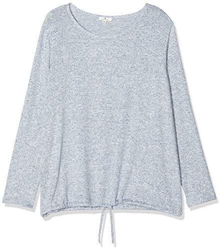 TOM TAILOR Damen T-Shirt Loose Kn, Langarmshirt, Blau (Navy Blue Structure 19174), Large (Herstellergröße: L)