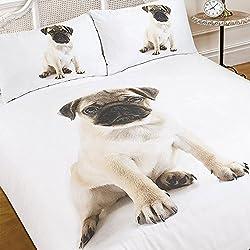 Dreamscene-lujosamente suave Animal Pug funda de edredón juego de cama con fundas de almohada de cama de matrimonio, 5piezas, multicolor, doble