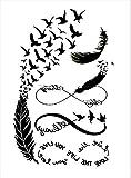 tatouages temporaires plumes oiseaux 8 infinis - pour homme et femme tatouage éphémère - avant bras/poignet/jambe/mollet/nuque - 10,5 x 6 cm