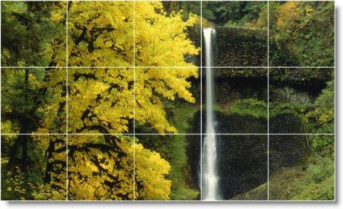 CASCADAS FOTO TILE MURAL W049  24X 40CM CON (15) 8X 8AZULEJOS DE CERAMICA