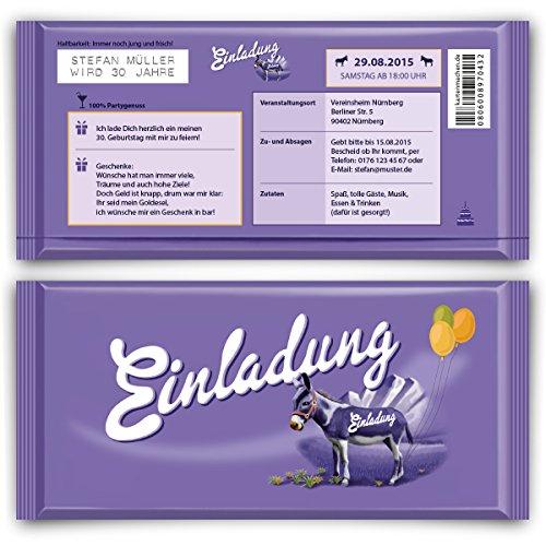 Einladungskarten Zum Geburtstag (50 Stück) Lila Esel Schokolade Motiv:  Amazon.de: Bürobedarf U0026 Schreibwaren