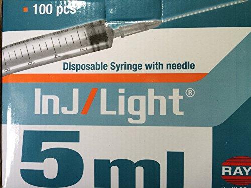Sterile Spritzen 5ml mit Nadel-montiert 23g x 35mm, 100-er Pack