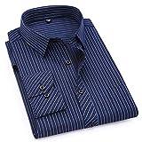 Photo de QUGKOP& Large Size Mens Long Sleeved Shirt Classic Striped Male Dress Shirts Purple Blue par QUGKOP&