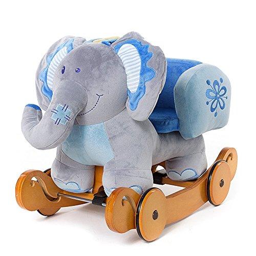 OUBO® Schaukeltier Noah der Blauer Elefant Plüsch Schaukel Plüschtier Schaukelpferd mit Rädern, Multi-Funktionen auch als Rutschfahrzeug, für Kinder ab 6 Monate bis (Kostüm Troll Baby)