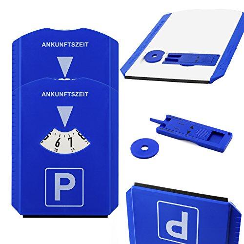 2x Parkscheibe für PKW mit Eiskratzer, Profiltiefenmesser, Einkauswagenchip und Gummilippe | Hitzebeständig | Hohe Qualität | Made in Germany