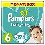 Pampers Baby-Dry Windeln, Gr.6, 13-18kg, Monatsbox, 1er Pack (1 x 124 Stück)