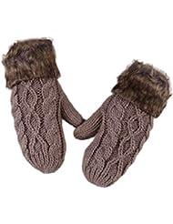 Tongshi Encantadores Mujeres Doble-Cubierta Lana Hang Corbata manoplas de punto Guantes de piel caliente