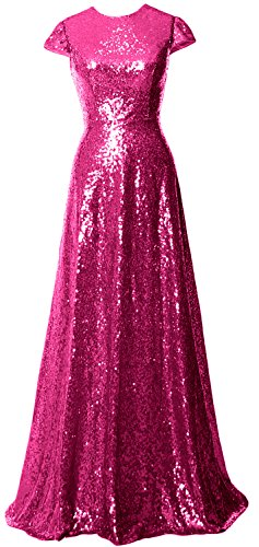 MACloth Women Cap Sleeve Sequin Long Bridesmaid Dress Wedding Party Evening Gown Fuchsia