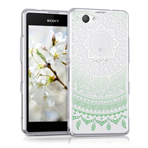 kwmobile Sony Xperia Z1 Compact Hülle - Handyhülle für Sony Xperia Z1 Compact - Handy Case in Mintgrün Weiß Transparent