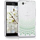 kwmobile Funda para Sony Xperia Z1 Compact - Case para móvil en TPU silicona - Cover trasero Diseño sol indio en menta blanco transparente