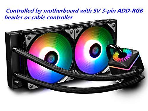 DEEPCOOL Captain 240Pro Addressable RGB Aio CPU Liquid Cooler Rainbow 5V Add RGB 3-Pin kompatibel Intel 115X/2066 und AMD Tr4/Am4