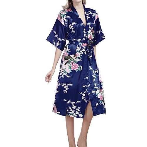 TIAQUE Damen Seide Satin Kimono Robe Blüte Pfau Nachtwäsche Sexy Long Gown Bademäntel Nachthemd (XL, Schatz blau)