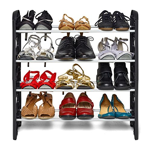 Inditradition 4 Layer Portable Shoe Rack Foldable, Black