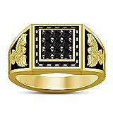 Vorra Fashion pretty Wedding Band Ring 925 Sterling Silver 14K Gold Plated Black CZ Round Cut (9.5)