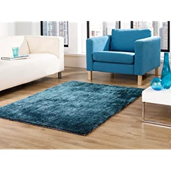Flair Rugs Grande Vista Shaggy Hand Made Rug, Teal Mix, 120 X 170 Cm