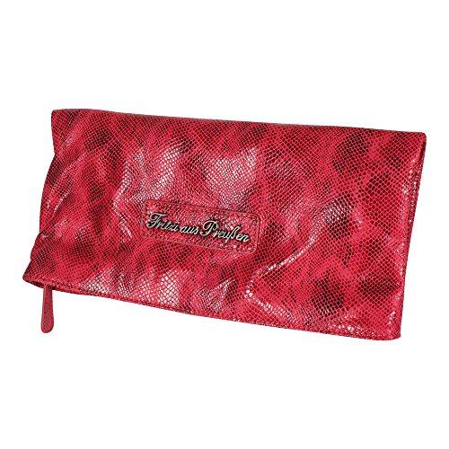 Fritzi aus Preußen Damen Clutch Tasche Ronja Snake rot (Snake-clutch-handtasche)